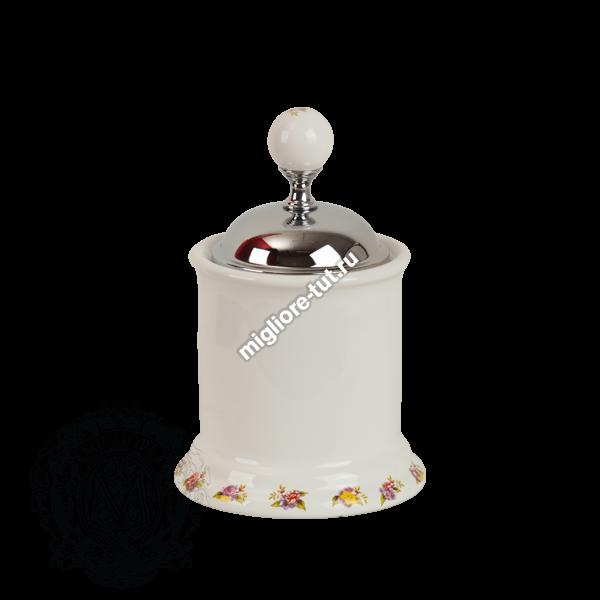 Баночка низкая Migliore Provance ML.PRO-60.527 цвет хром , керамика с декором