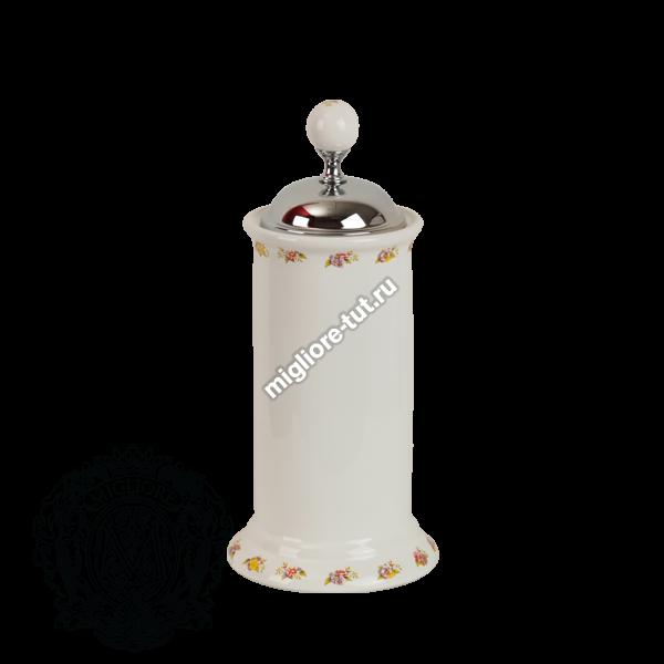 Контейнер для мусора настольный Migliore Provance ML.PRO-60.546 цвет хром , керамика с декором