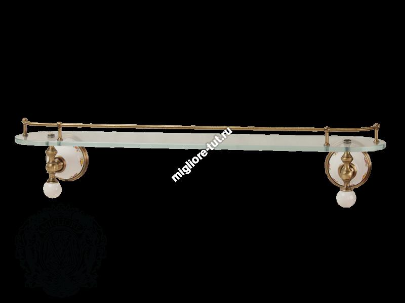 Полка с галереей Migliore Provance ML.PRO-60.520 цвет бронза ,стекло, керамика с декором