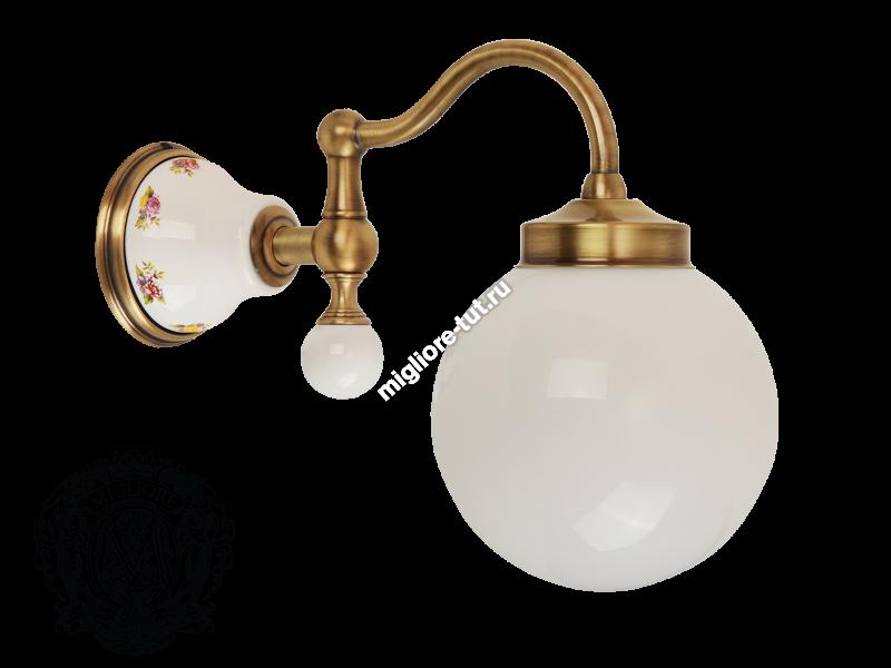 Светильник настенный Migliore Provance ML.PRO-60.530 цвет золото , матовое стекло, керамика с декором
