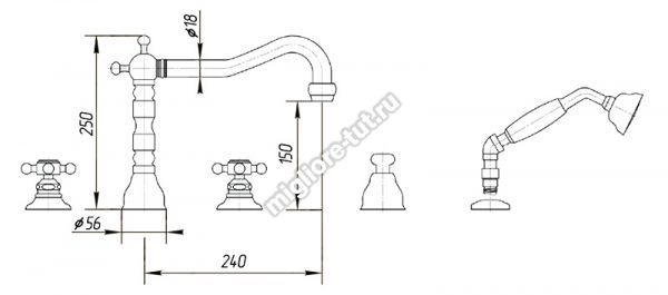 Смеситель на борт ванны Migliore Arcadia ML.ARC-8380 цвет бронза