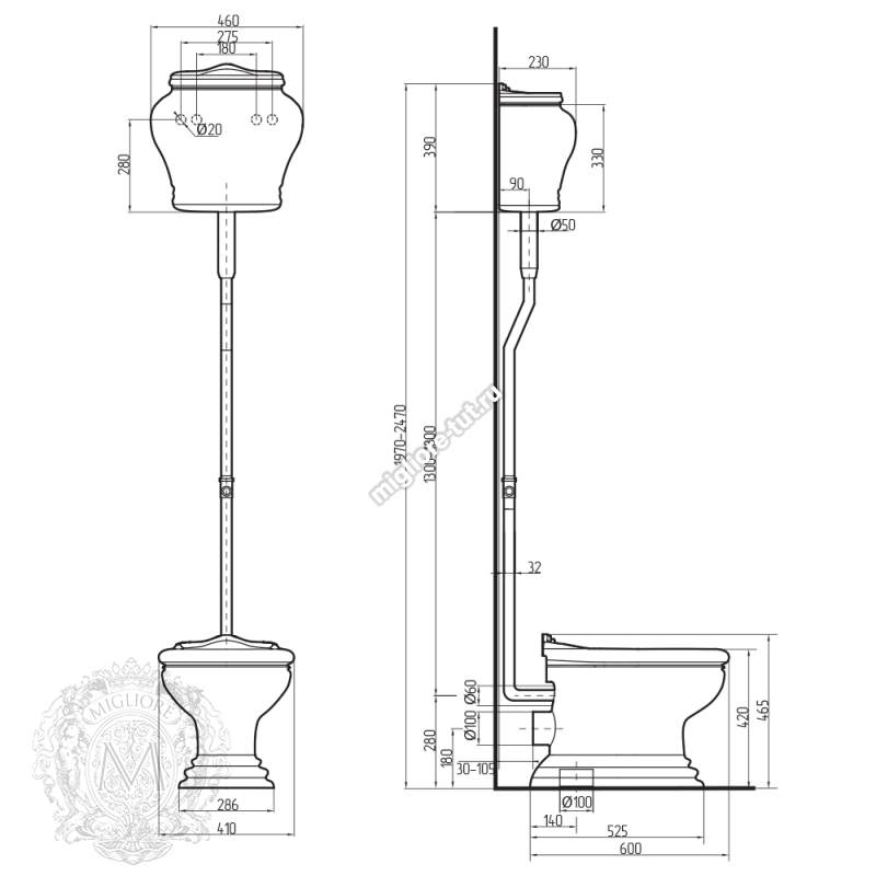 Унитаз напольный с высоким бачком и ручкой для слива Migliore Milady ML.MLD-25.711 D2/PL.CR