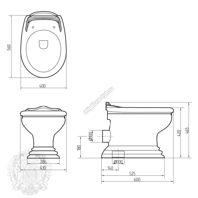 Унитаз напольный Migliore Milady ML.MLD-25.711.D3/BR