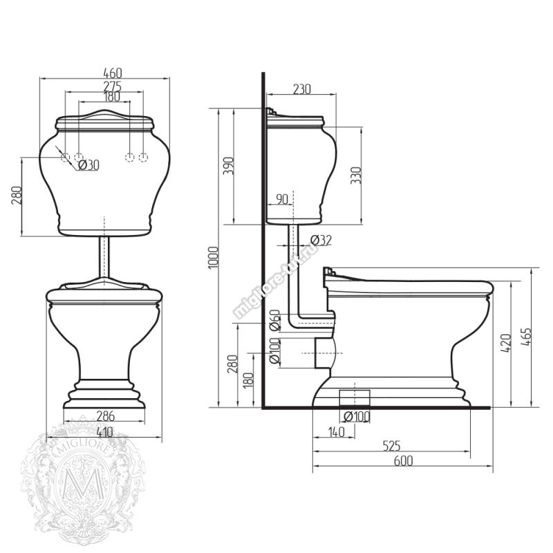 Унитаз напольный с низким бачком и кнопкой для слива Migliore Milady ML.MLD-25.712.BL.BRK