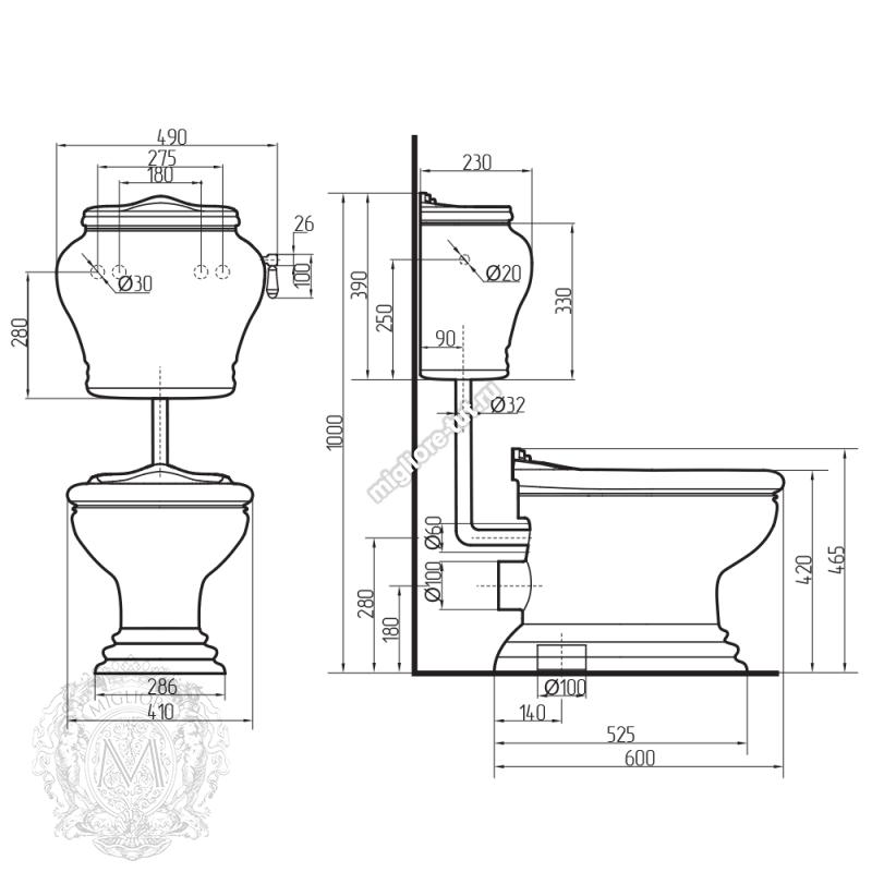Унитаз моноблок с ручкой слива Migliore Milady декор ML.MLD-25.701.D3/BR.BRR