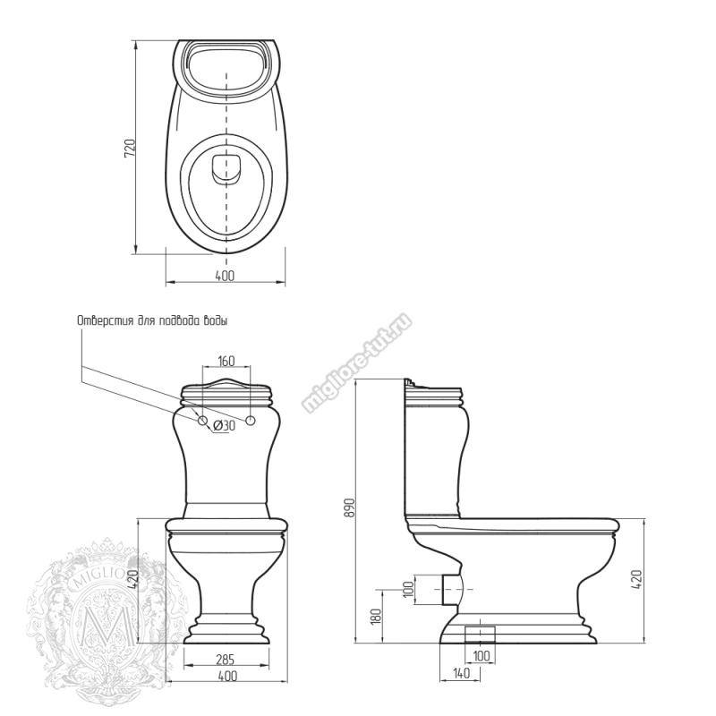 Унитаз моноблок с кнопкой Migliore Milady декор ML.MLD-25.702.D2/PL.CRK