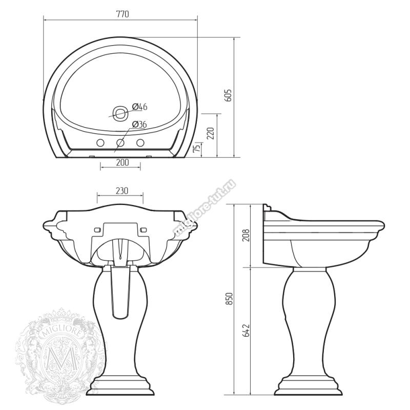 Раковина-тюльпан Migliore Milady 77 декор ML.MLD-25.773 цвет хром с платиной