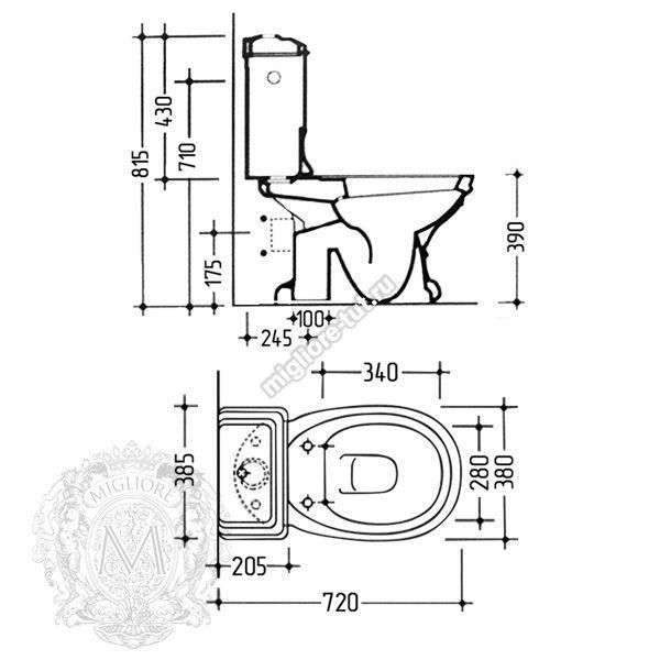 Унитаз моноблок с кнопкой слива Migliore Gianeta ML.GNT-25.801.BL.BR