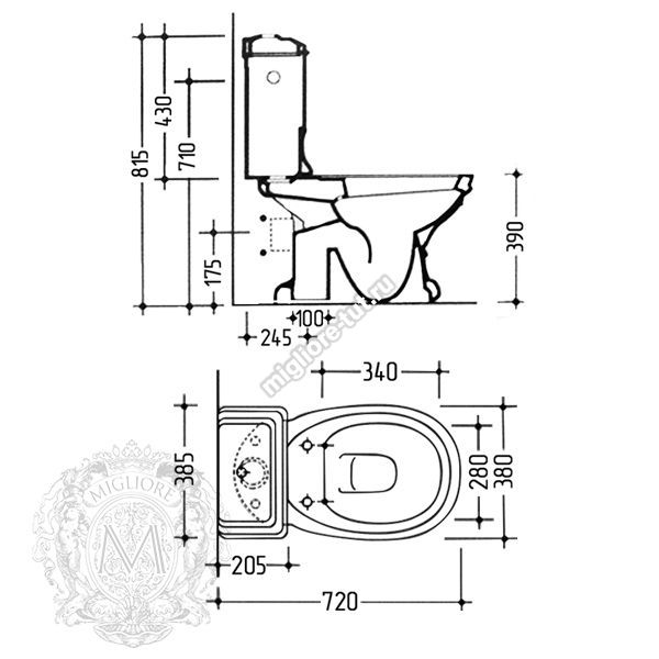 Унитаз моноблок с ручкой слива Migliore Gianeta ML.GNT-25.802.BL.BR