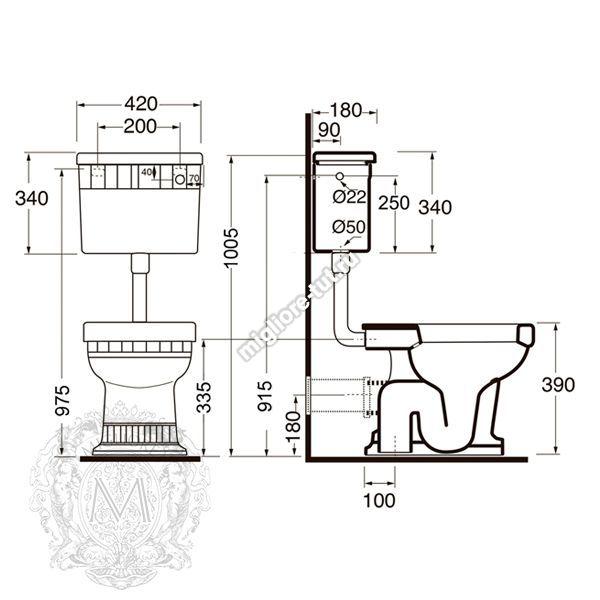 Унитаз напольный с низким бачком с кнопкой ML.GNT-25.811.BL.CRK