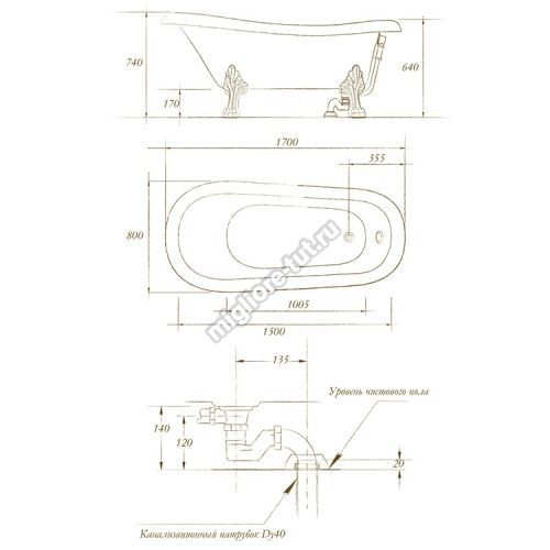 Ванна MIGLIORE BELLA ML.BLL-40.404 Br - ножки бронза