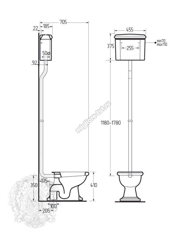 Унитаз напольный с высоким бачком Migliore Bella ML.BLL-25.112.BL.CR