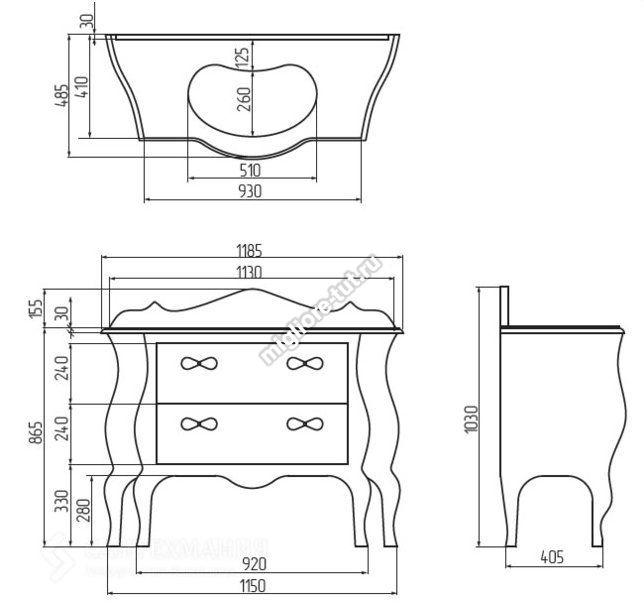 Тумба Vittoria bianco со столешницей  для ванной комнаты Migliore ML.VIT-BA115BI.AG  с декором argento