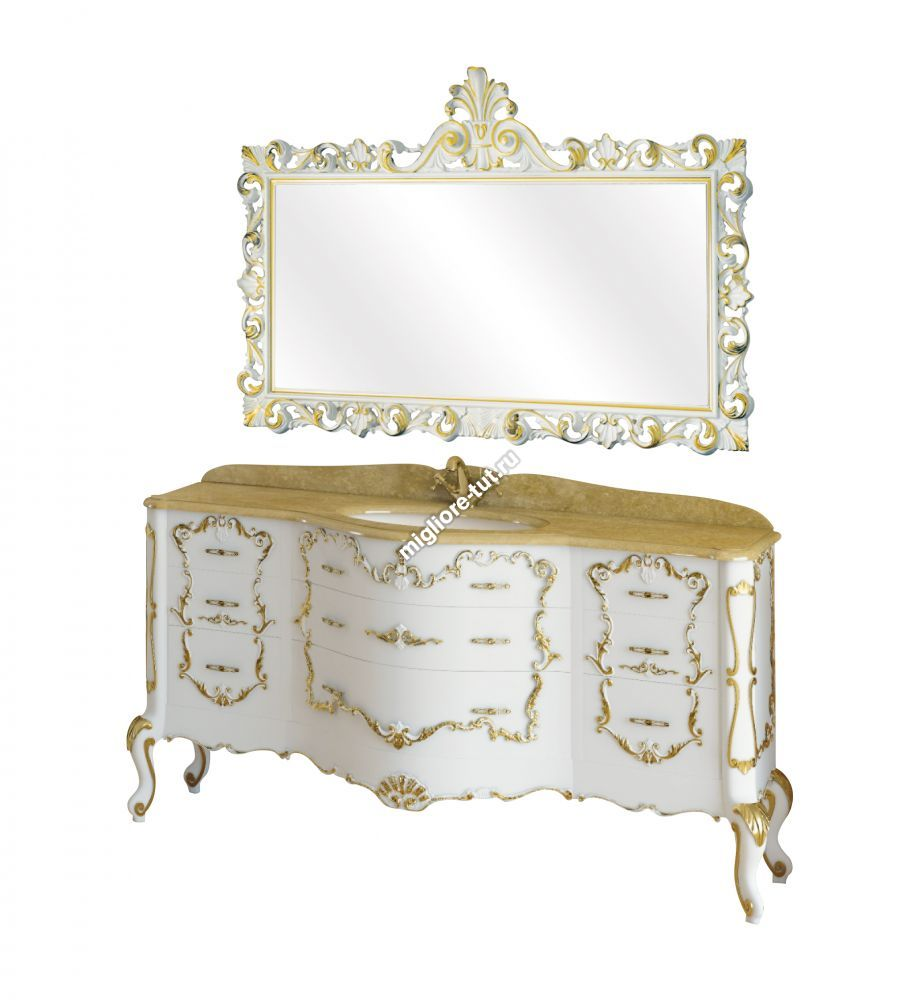 Комплект мебели Migliore Milady L164 см цвет Bianco с декором Foglio Oro