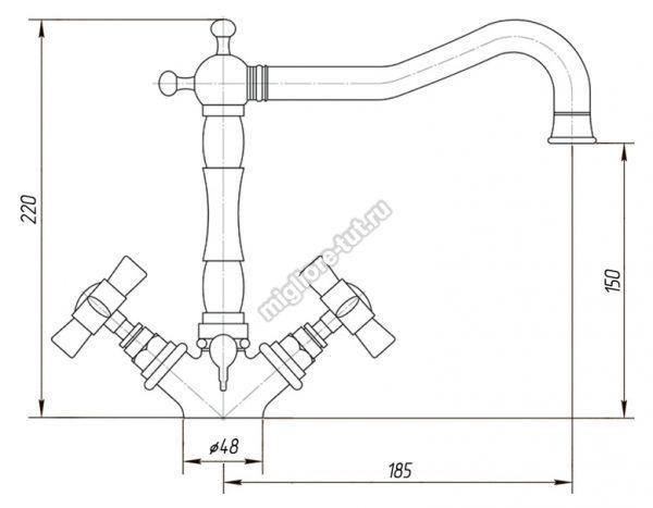 Смеситель для раковины Migliore Princeton ML.PRN-834 цвет состаренный хром