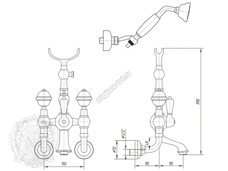 Смеситель для ванны с душем Migliore Cristalia Swarovski ML.CRS-3702 цвет золото схема