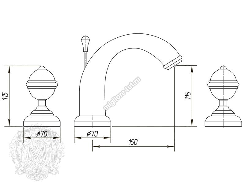 Смеситель для раковины на 3 отверстия Migliore Cristalia ML.CRS-3712 цвет бронза